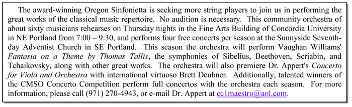 The Oregon Sinfonietta is seeking more string players